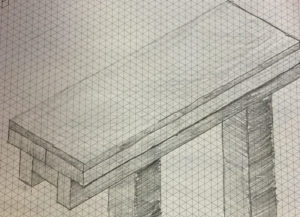 Henry's sketch of the classroom benches
